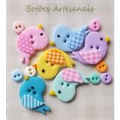 Kit botões Passarinhos cores claras - Veceli