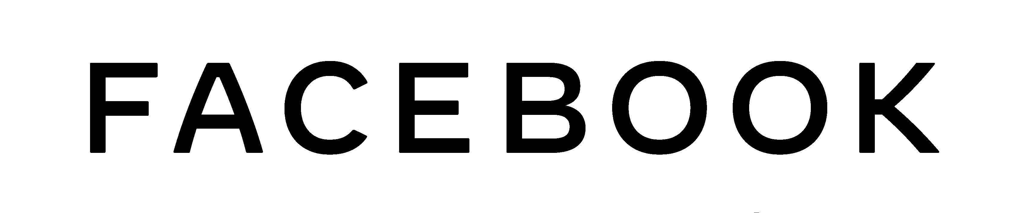 """Logotipo da empresa Facebook. O nome """"Facebook"""" está escrito na cor preta. Logotipo"""