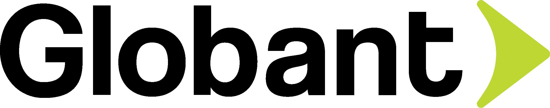 """Logotipo da Globant. Trata-se de um logo com a palavra """"Globant"""" em preto. No final, do lado direito, tem uma seta verde."""