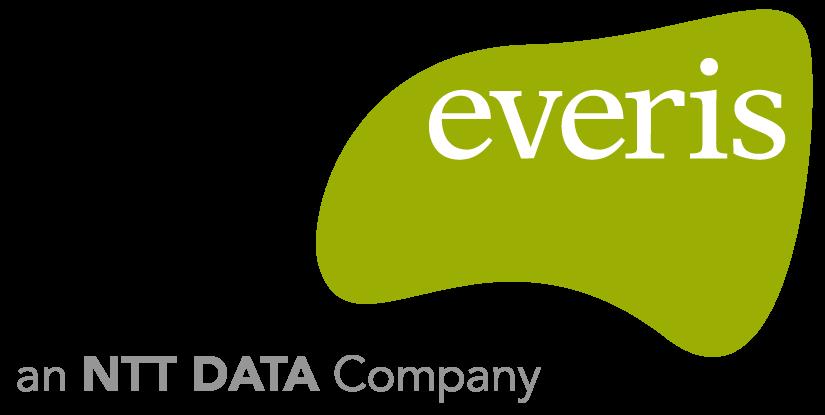 """Logotipo da EVERIS. Trata-se de um logo com uma forma abstrata em verde com o nome """"Everis"""" dentro dessa forma."""