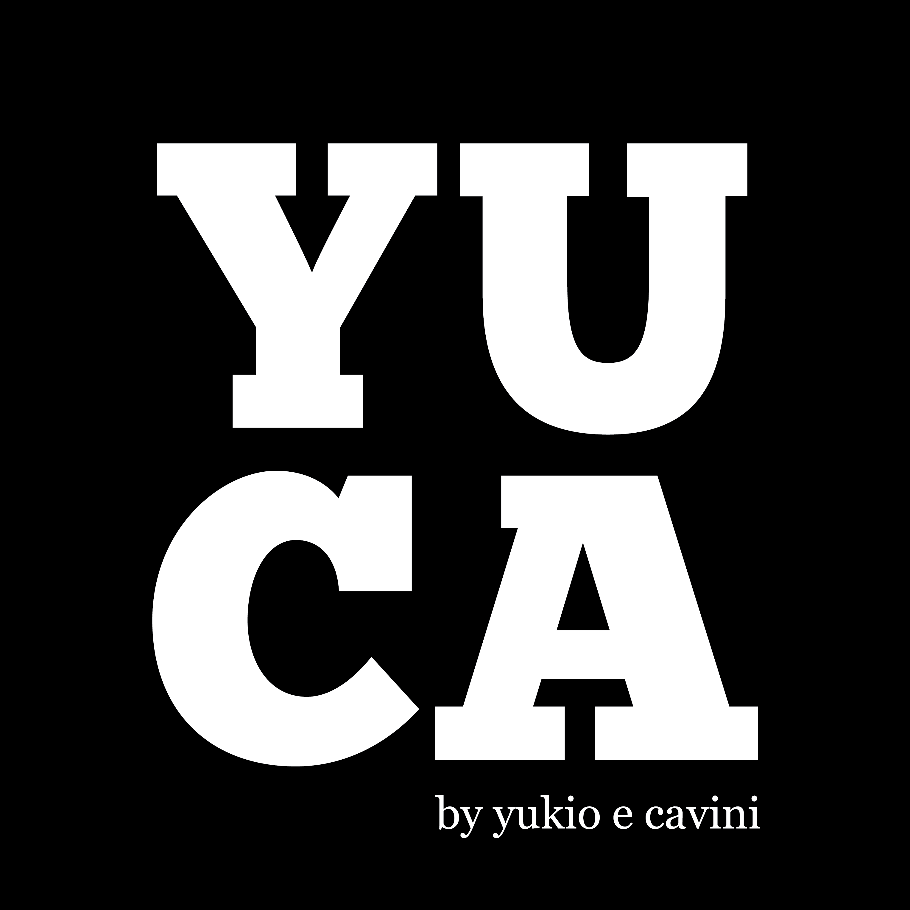"""Logotipo da empresa YUCA. Trata-se de um logo na forma de um quadrado na cor preto, com as palavras """"YUCA"""" escritas dentro desse quadrado."""