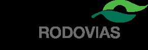"""Logotipo da empresa Ecorodovias. O nome """"Ecorodovias"""" está escrito nas cores preta e cinza. Acima há uma ilustração de folhas de arvore na cor verde."""