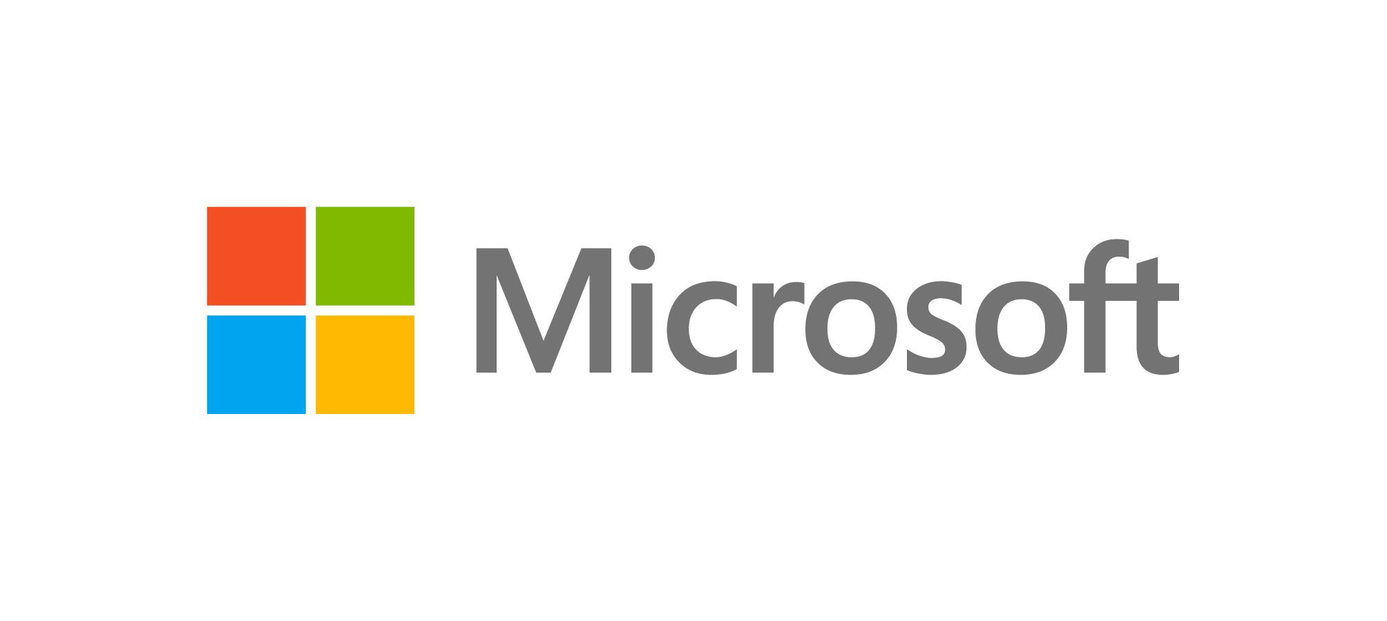 """Logotipo da empresa Microsoft. O nome """"Microsoft"""" está escrito na cor cinza. Do lado esquerdo, há um quadrante nas cores azul, verde, vermelho e laranja."""