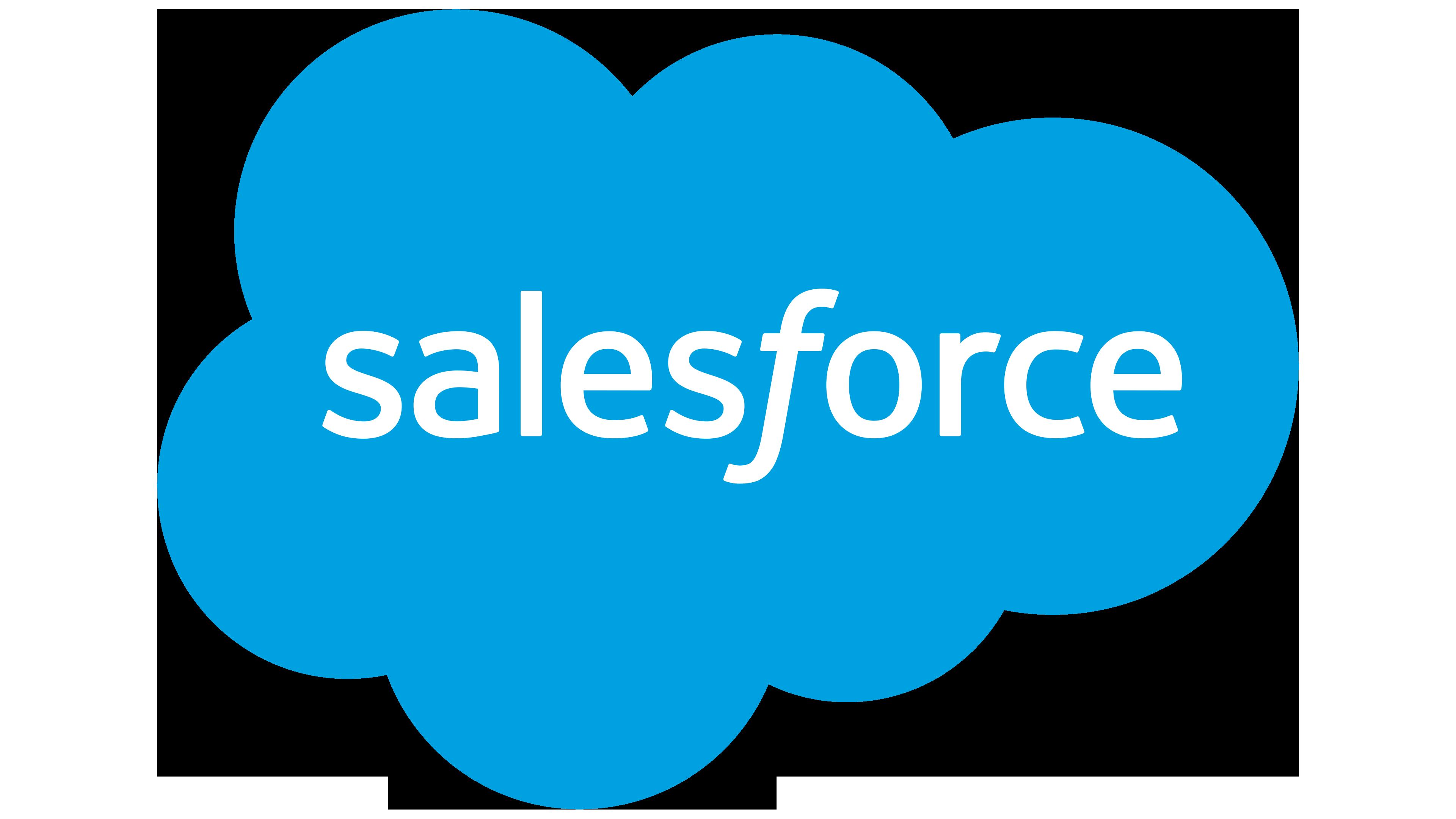 """Logotipo da Salesforce. Trata-se de uma nuvem em azul com a palavra """"Salesforce"""" dentro dessa nuvem."""