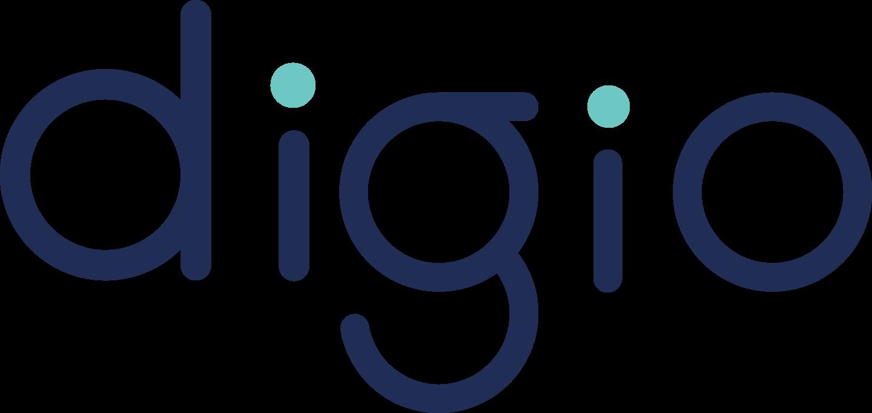Logotipo da empresa Digio. Trata-se do nome Digio estilizado nas cores azul e verde oliva.