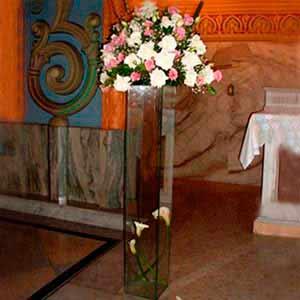 Coluna de vidro p/ altar iluminada -locação de peças decorativas