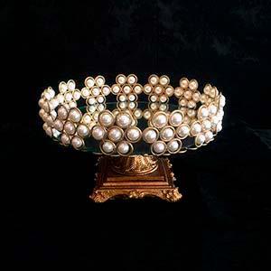 Bandeja de pérola dourada M-locação de peças decorativas
