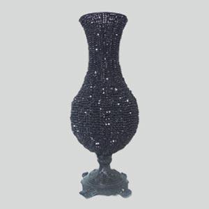Vaso pedras pretas bojudo G-locação de peças decorativas