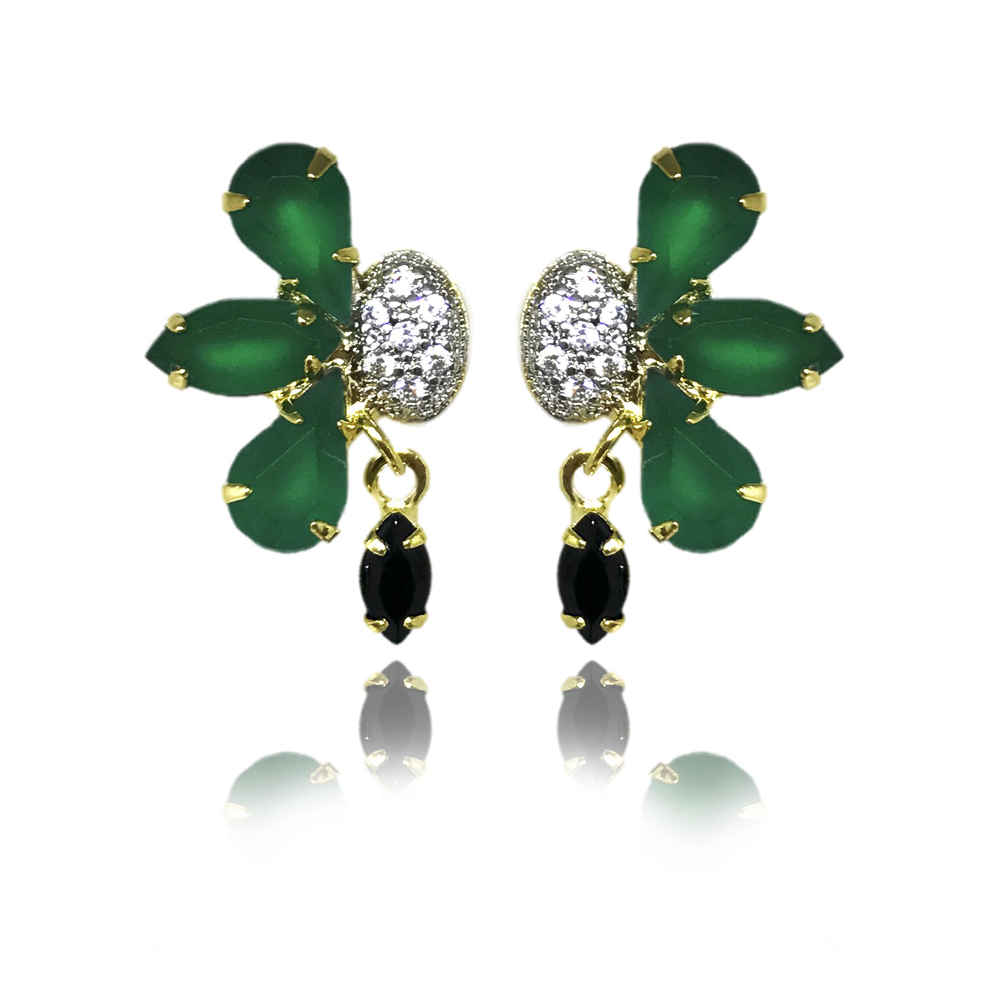 Brinco flor pequeno em cristais verdes e pretos