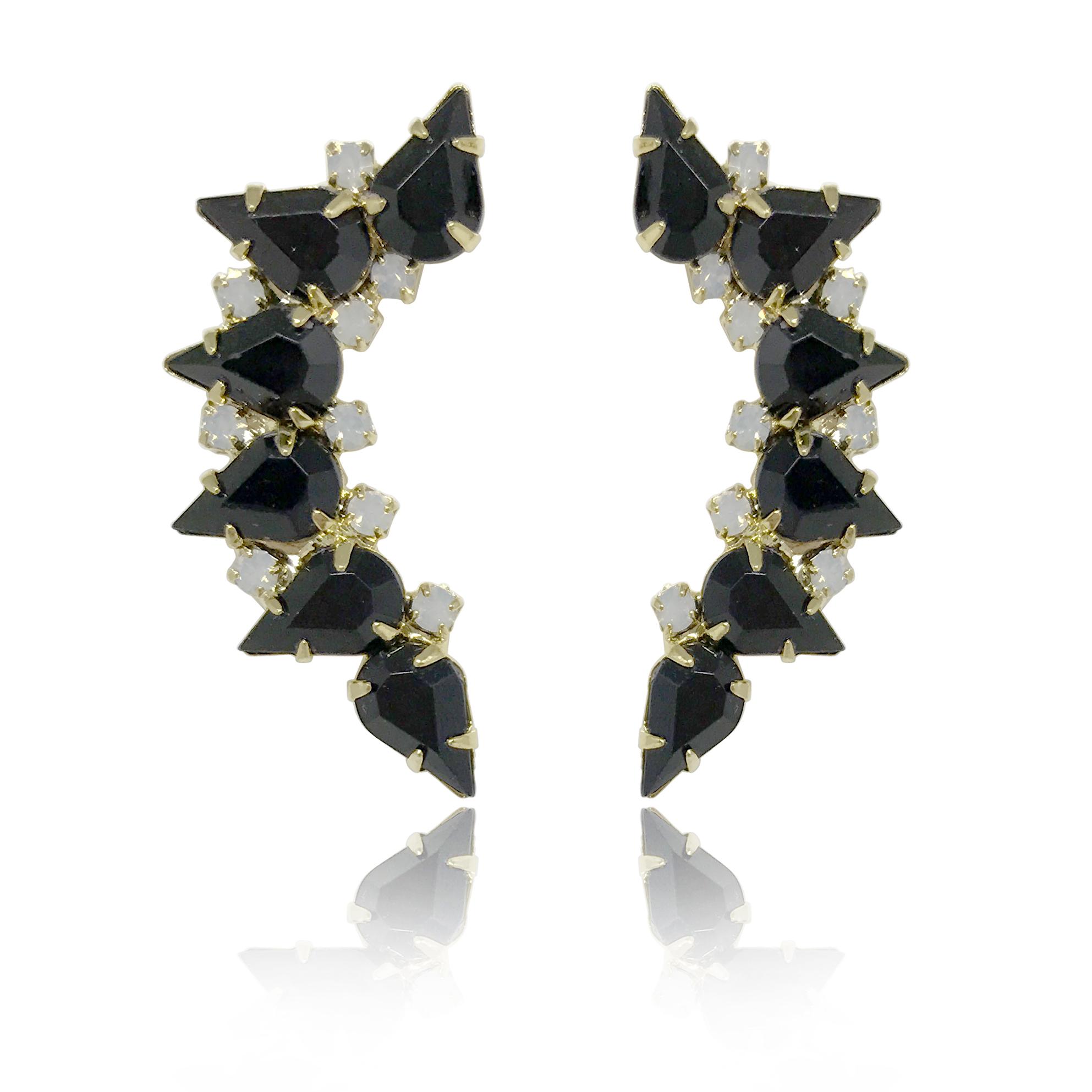 Earcuff folheado no ouro 18K com pedras em formato de gota na cor preta
