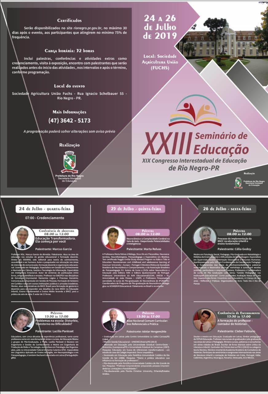 Programação do XXIII Seminário de Educação