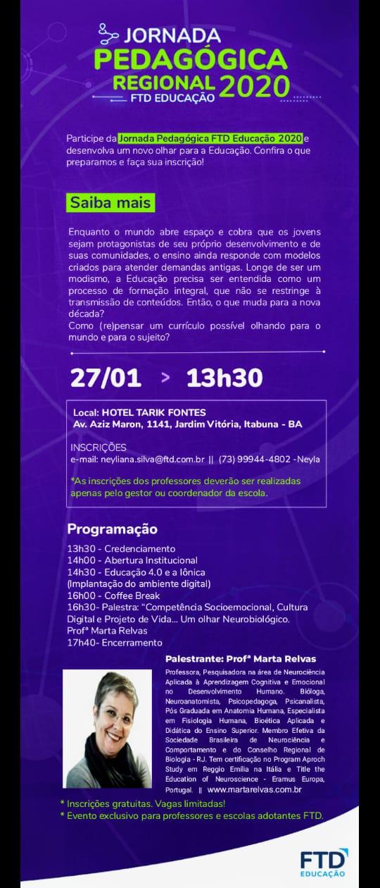 cartaz da Jornada Pedagógica Regional 2020 FTD Educação em Itabuna - BA