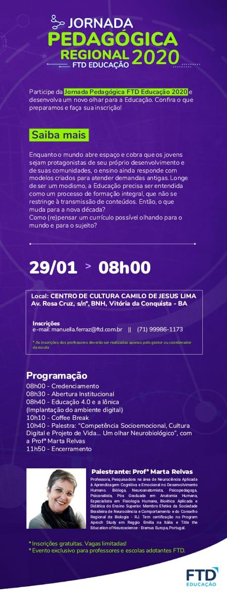 cartaz da Jornada Pedagógica Regional 2020 FTD Educação em Vitória da Conquista BA